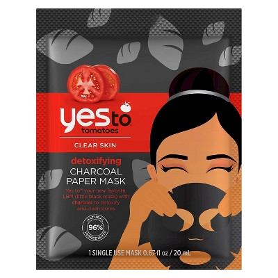 Yes To Tomatoes Detoxifying Charcoal Paper Face Mask - 1ct