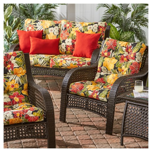 Excellent Set Of 2 Aloha Black Floral Outdoor High Back Chair Cushions Kensington Garden Home Interior And Landscaping Oversignezvosmurscom