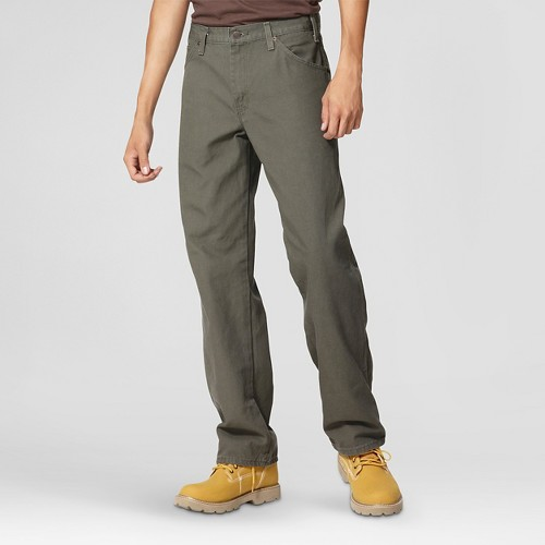 Dickies - Men's Big & Tall Relaxed Straight Fit Canvas Carpenter Jeans Moss 44X34, Green
