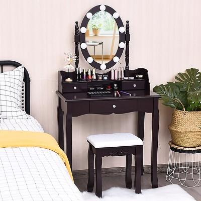 Costway Makeup Vanity Dressing Table 10 Dimmable Bulbs WhiteBlackBrown
