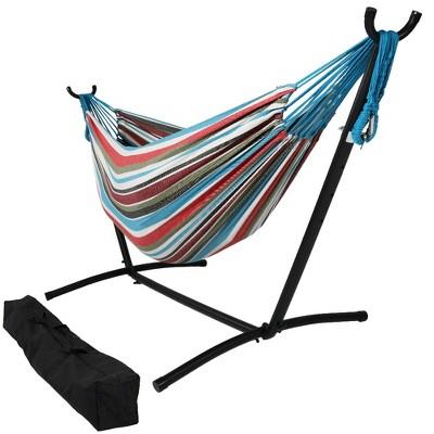 Cool Breeze Brazilian Hammock and Stand - Blue/Red Stripe - Sunnydaze Decor