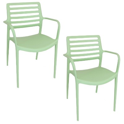 Sunnydaze Plastic All-Weather Commercial-Grade Astana Indoor/Outdoor Patio Dining Arm Chair, Light Green, 2pk