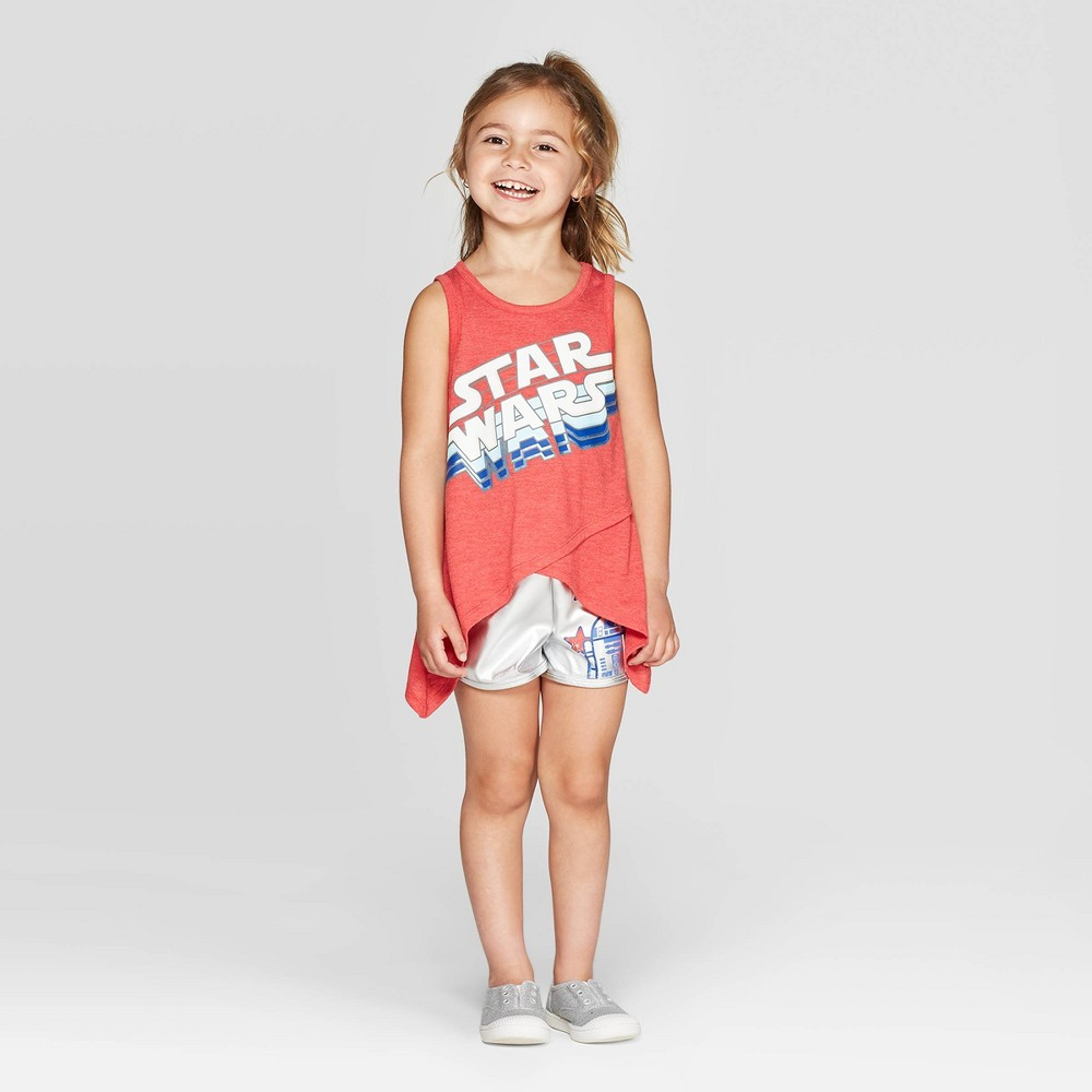Best Price Toddler Girls 2pc Star Wars Droid Tank And Shorts Set Red 2T