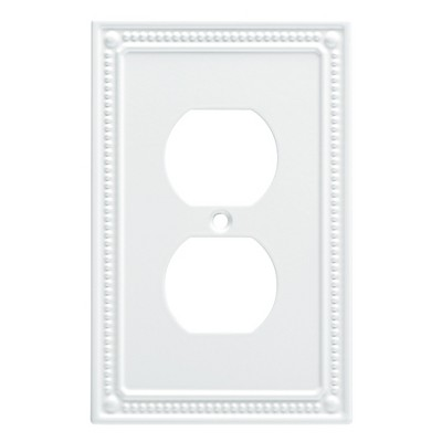 Franklin Brass Classic Beaded Single Duplex Wall Plate White