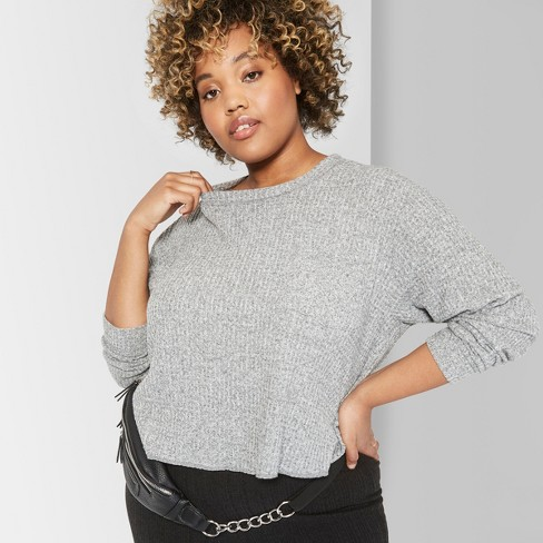 Women's Plus Size Long Sleeve Crew Neck Cozy Waffle Boxy Top - Wild Fable™ - image 1 of 3