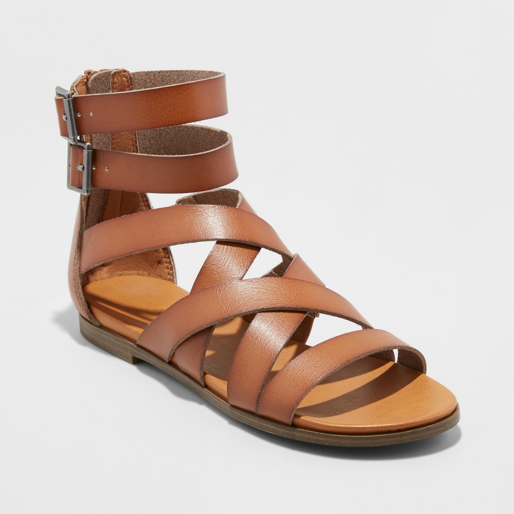 Women's Rosalee Microsuede Gladiator Sandals - Universal Thread Cognac (Red) 9.5