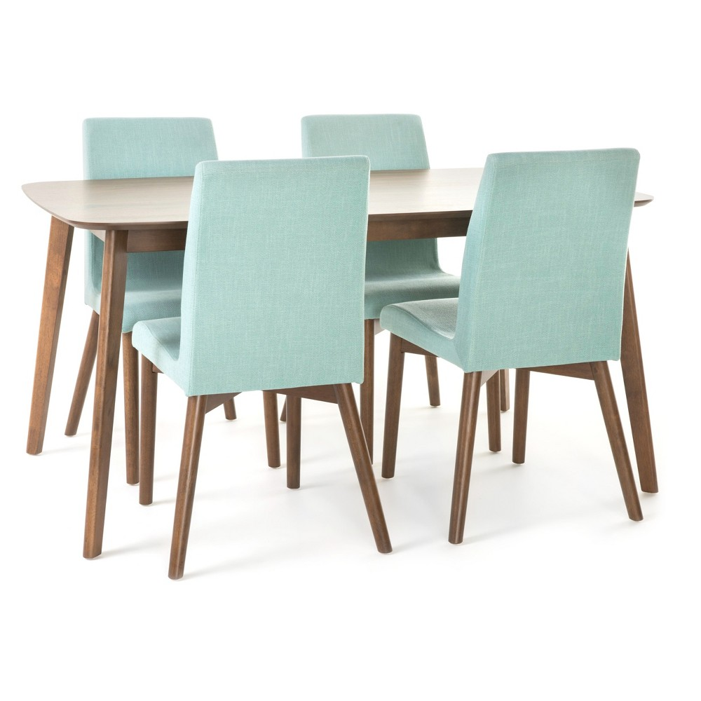Orrin 60 5pc Dining Set - Mint/Nat Walnut (Brown) - Christopher Knight Home