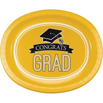 "Graduation School Spirit Yellow 10"" x 12"" Oval Platters - 8ct"