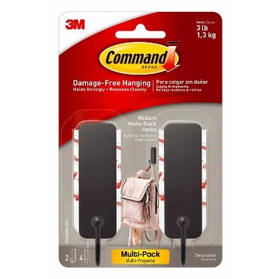 Command 2pk Wire Decorative Hooks Black