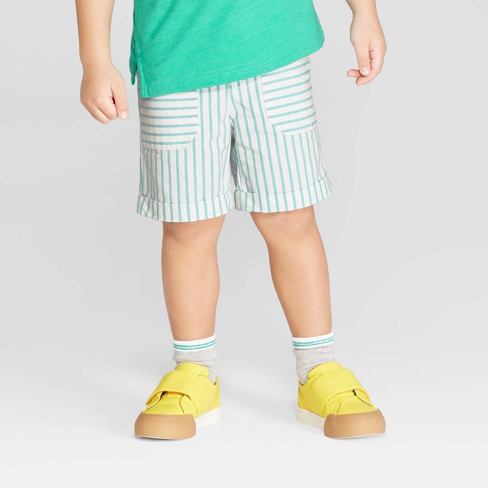 Toddler Boys' Stripe Pull-On Shorts - Cat & Jack Aqua/White 2T, Blue