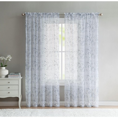 VCNY Home Embroidered Sheer Curtain Panel - image 1 of 1