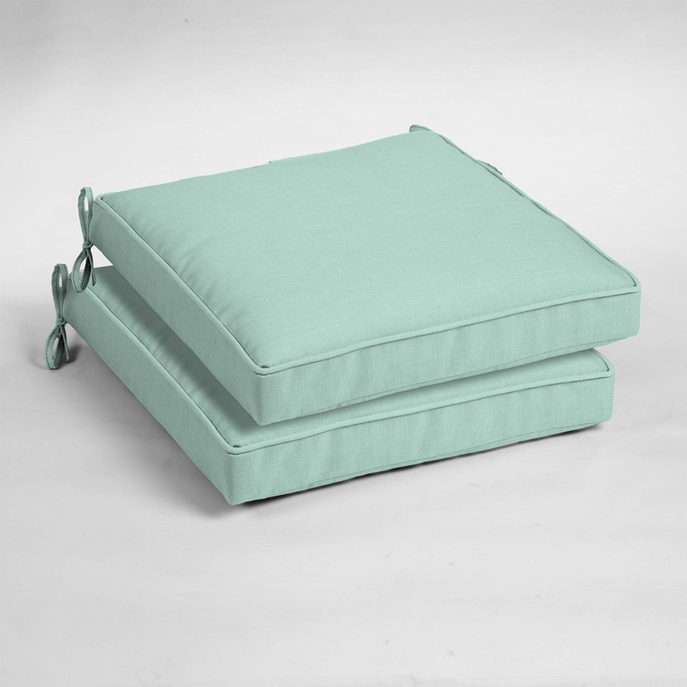 2pk Leala Texture Single Welt Outdoor Seat Cushions Aqua (Blue) - Arden Selections