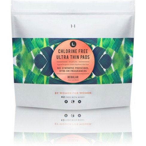 L  Organic Chlorine Free Ultra Thin Regular Pads With Wings - 42ct