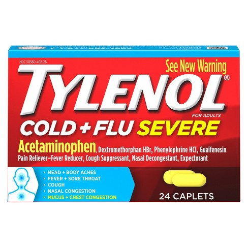 Tylenol Cold & Flu Severe Multi Symptom Caplets - Acetaminophen - 24ct - image 1 of 4