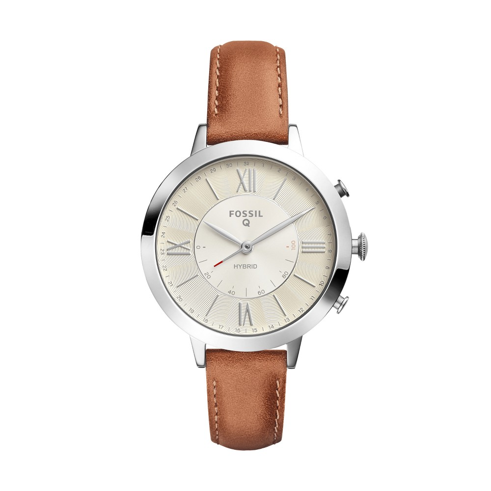 Fossil Hybrid Smartwatch - Jacqueline 36mm Stainless Steel and Tan Leather, Size: 41mm, Silver/Tan