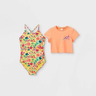 Girls' Floral Rainbow Print Short Sleeve One Piece Swimsuit Set - Cat & Jack™ Coral