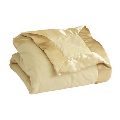 Lakeside Down-Alternative Bed Blanket with Satin Binding Edges - Khaki