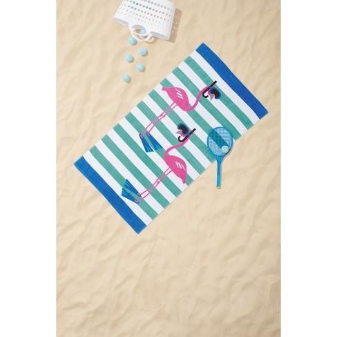 Stripe Scuba Flamingo Beach Towel Sun Squad Target
