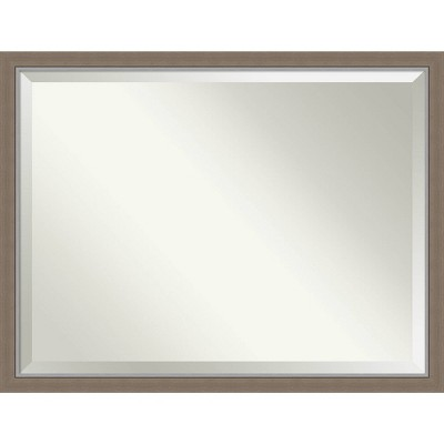 "43"" x 33"" Eva Framed Bathroom Vanity Wall Mirror Brown - Amanti Art"
