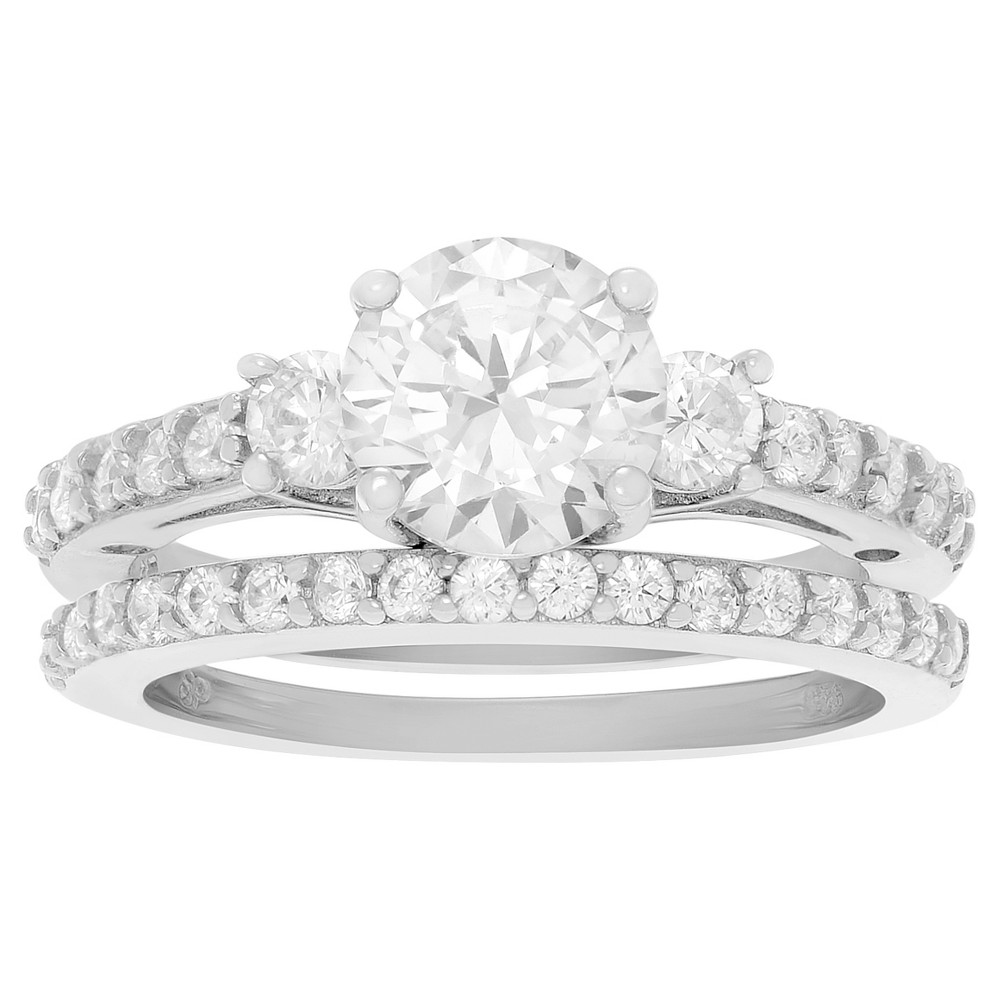 1 2/5 CT. T.W. Round-cut Cubic Zirconia Engagement Prong Set Ring Set in Sterling Silver - Silver, 9, Girl's