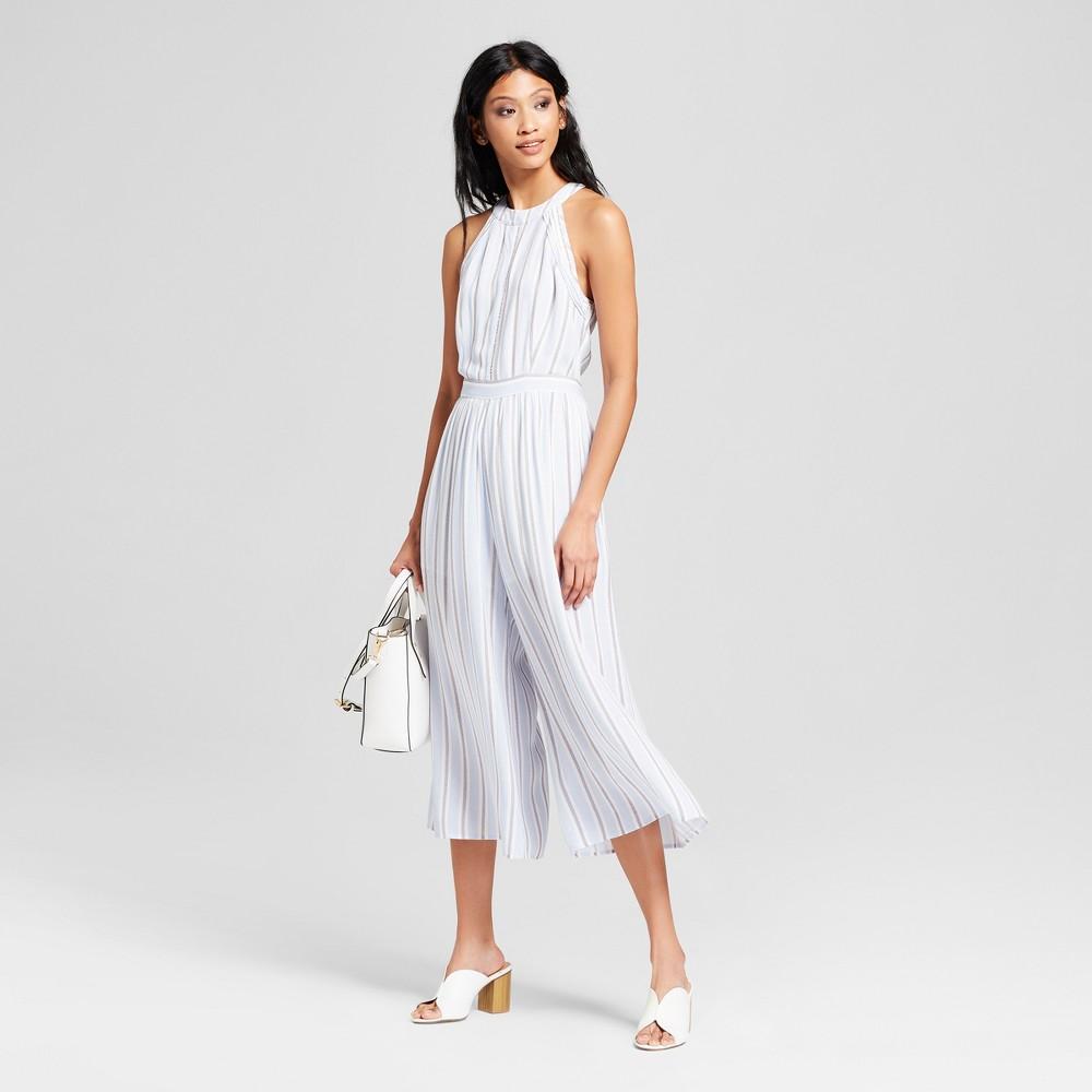 Women's Striped Sleeveless Jumpsuit - Nedlework Blue/White XS