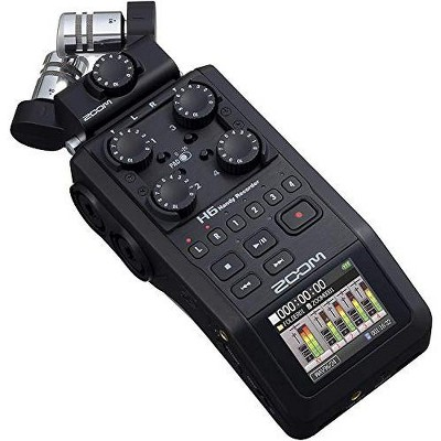 Zoom H6 6-Track Portable Recorder, Stereo Microphones, All Black (2020 Version) 4 XLR-TRS Inputs, SD Card, USB Audio Interface, Battery Powered