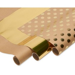 Polka Dot Wrapping Paper Kraft and Gold