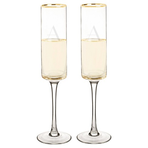 Monogram Gold Rim Champagne Flute Drinkware (Set of 2) - image 1 of 4
