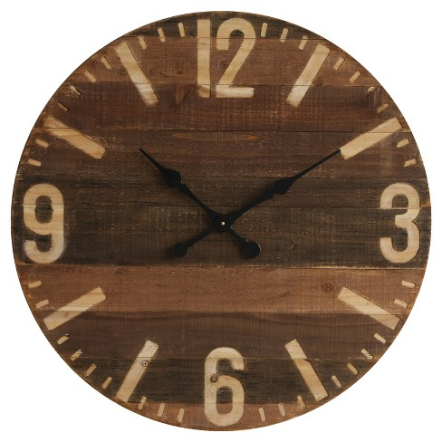 "30"" Round Wall Clock Cappuccino Wood - 3R Studios® - image 1 of 2"
