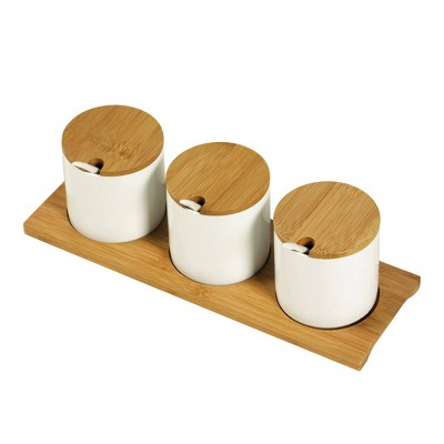 Denmark Tools for Cooks 10pc Porcelain and Bamboo Condiment Set with Tray - White