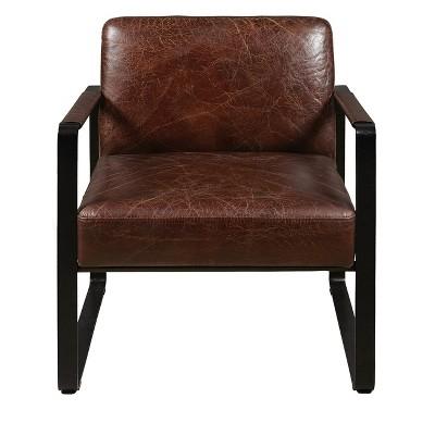 Modern Style Distressed Brown Leather Black Metal Frame Arm Chair   Brown    Pulaski : Target