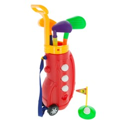 Toddler Toy Golf Play Set with Plastic Bag, 2 Clubs, 1 Putter, 4 Balls, Putting Cup Indoor or Outdoor Use for Toddlers Boys and Girls by Hey! Play!