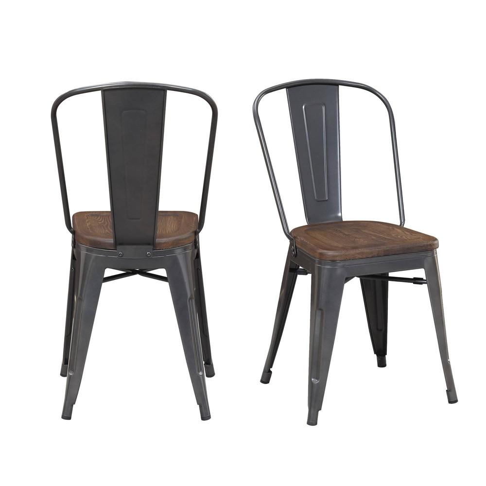 Image of 2pc Davis Metal Chair Set Gray - Picket House Furnishings