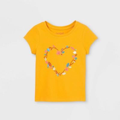 Toddler Girls' Floral Heart Short Sleeve Graphic T-Shirt - Cat & Jack™ Mustard
