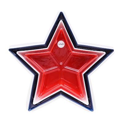 Plastic Serving Bowls Stars - Set of 3