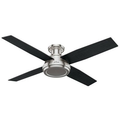"""52"""" Dempsey Low Profile Ceiling Fan with Remote Nickel - Hunter"""