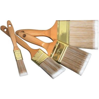 FM Brush Nylon Fiber Lacquered Wood Handle Utility Brush Set, Assorted Size, set of 4