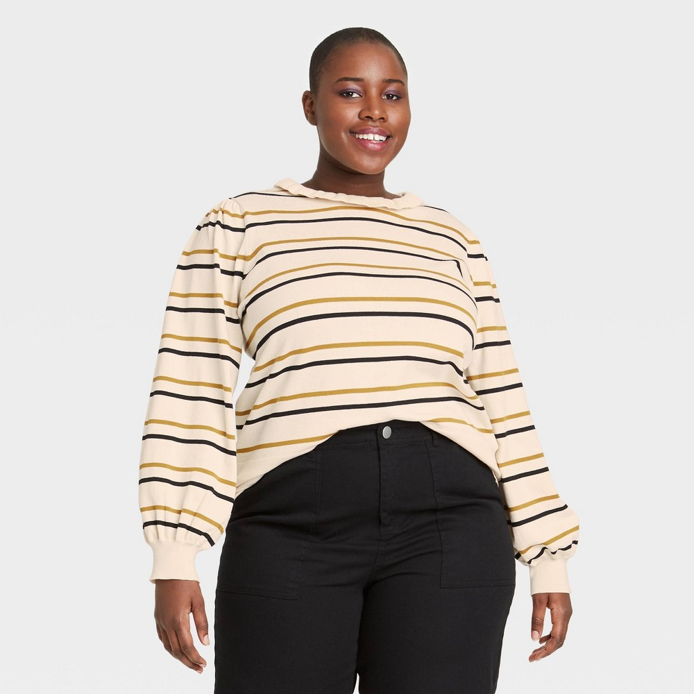 Women 39 S Plus Size Striped High Neck Pullover Sweater Who What Wear 8482 Cream 3x