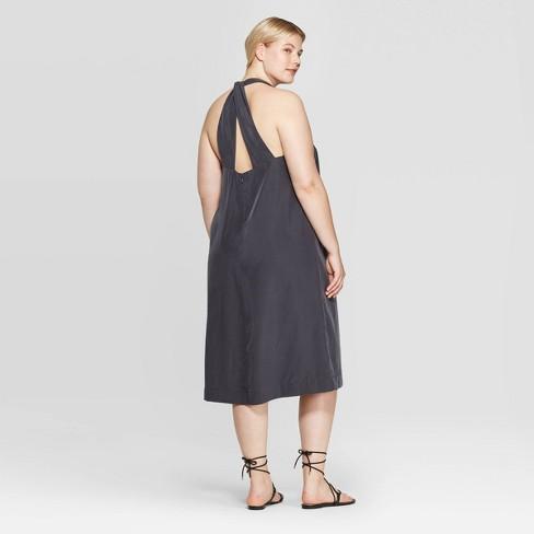Women\'s Plus Size Sleeveless Deep V-Neck Back Twisted Midi Dress -  Prologue™ Gray X