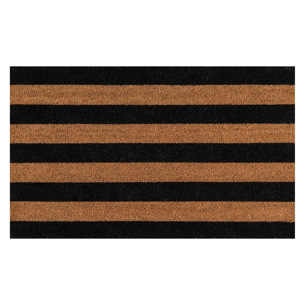 Stripe Woven Door Mat Black