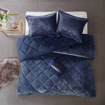 Alyssa Full/Queen 4pc Velvet Comforter Set Navy