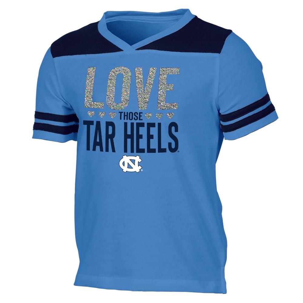 North Carolina Tar Heels Girls' Short Sleeve Team Love V-Neck T-Shirt XL, Multicolored