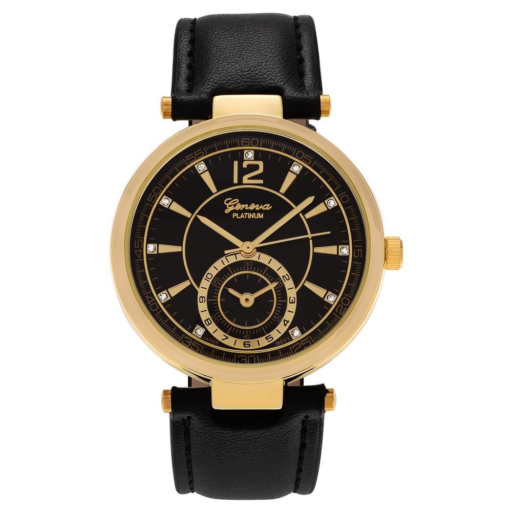 Women's Geneva Platinum Round Face Rhinestone Accent Strap Watch - Gold/Black