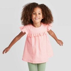 Toddler Girls' 2pc Gingham Top & Flower Knee Leggings - Cat & Jack™ Coral/Green