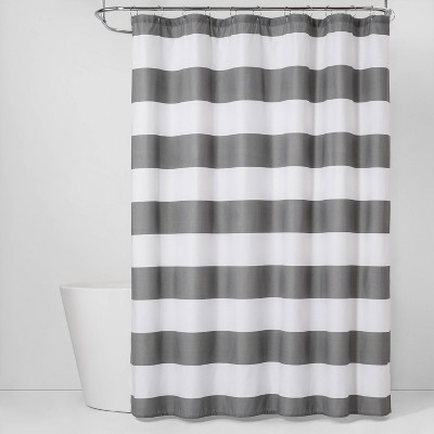 Stripe CVC Shower Curtain Gray Mist - Room Essentials™