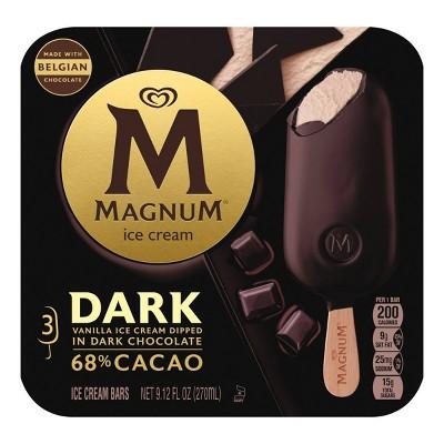 Magnum Vanilla Ice Cream Bars Dipped in Dark Chocolate - 3ct