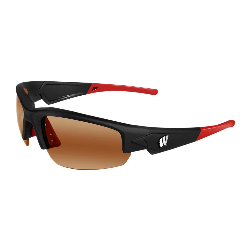 Wisconsin Badgers Dynasty 2.0 Sunglasses, Adult Unisex The Wisconsin Badgers Dynasty 2.0 is a sports frame sunglass for men and women of all ages. This sleek sunglass features Black Frame with Team Colored Tips and a HD Polarized lens. Raised metal Wisconsin Badgers logos on each temple round out this Team first sunglass while allowing no peripheral distortion for all outdoor activities. Gender: Unisex. Age Group: Adult. Pattern: Solid.