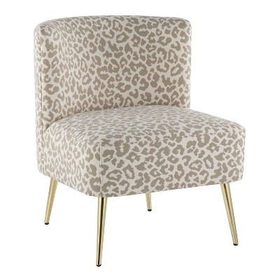 Fran Contemporary Slipper Chair Gold Steel/Tan Leopard Fabric - LumiSource