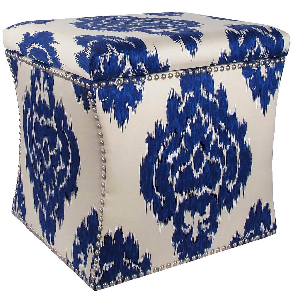 Nail Button Storage Ottoman Diamond Blue Pewter Nail Buttons - Skyline Furniture