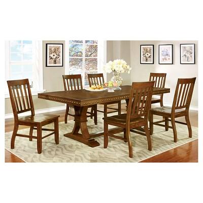 Sun U0026 Pine 7pc Nail Head Trimmed Double Pedestal Dining Table Set Wood/Dark  Oak : Target